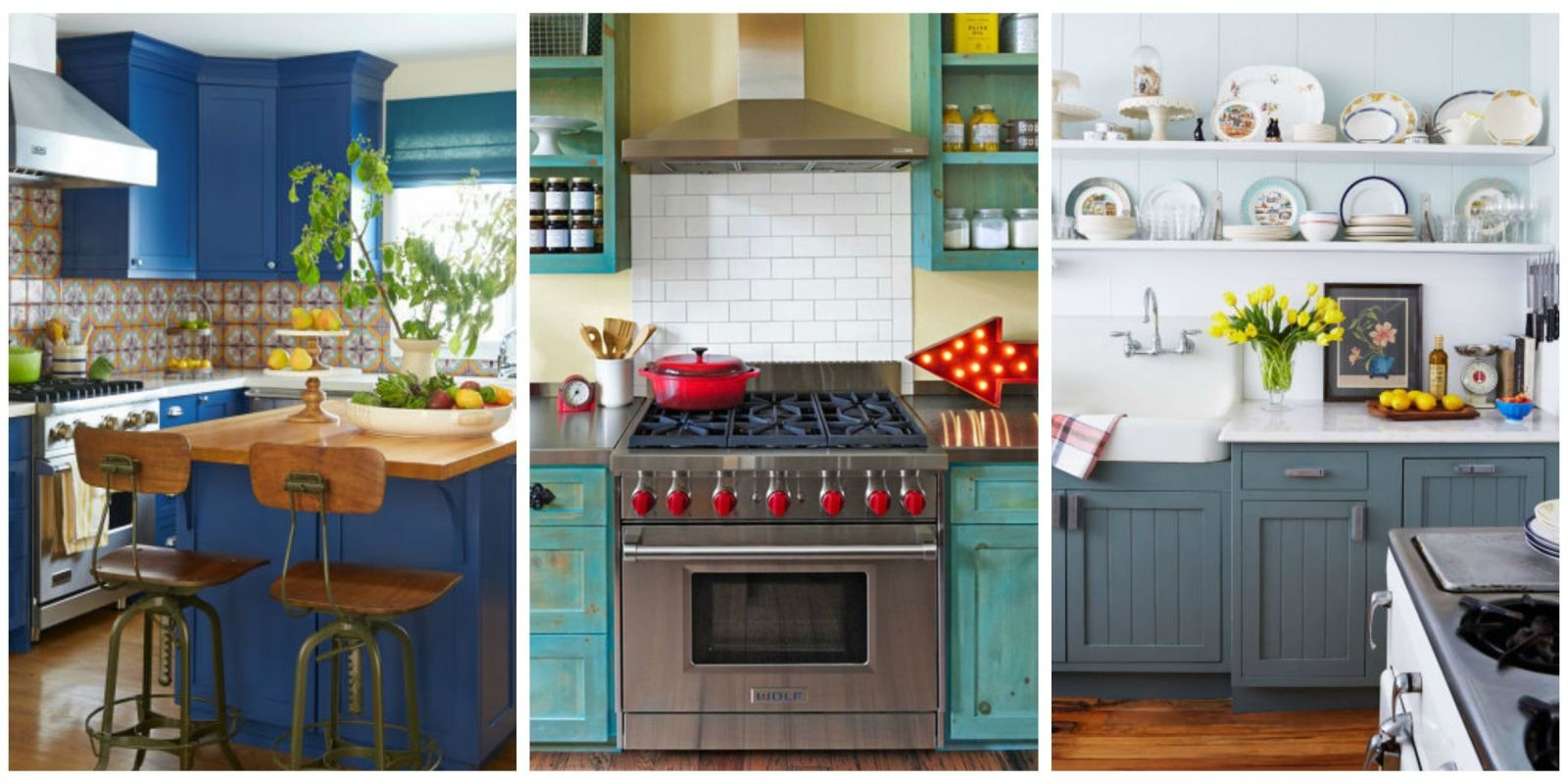 10 beautiful blue kitchen decorating ideas best blue for Country kitchen paint ideas