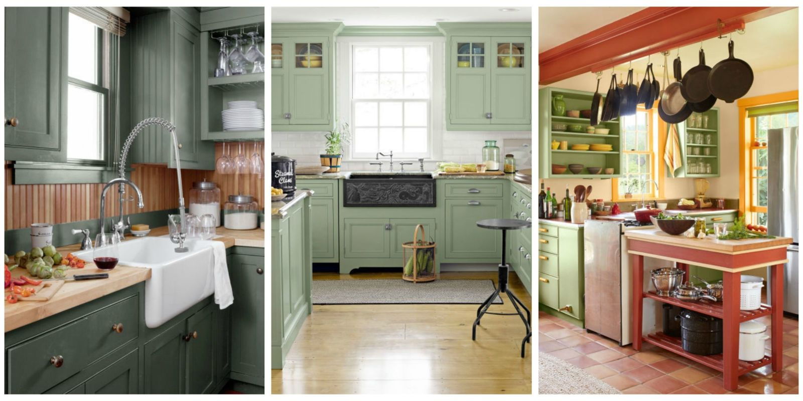 10 green kitchen ideas best green paint colors for kitchens for Green kitchen pictures