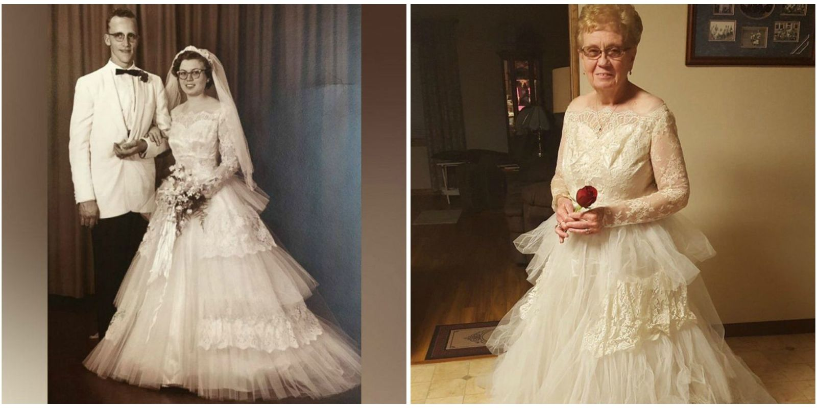 Woman Celebrates Her 60th Wedding Anniversary By Wearing Vintage 69 Bridal Gown