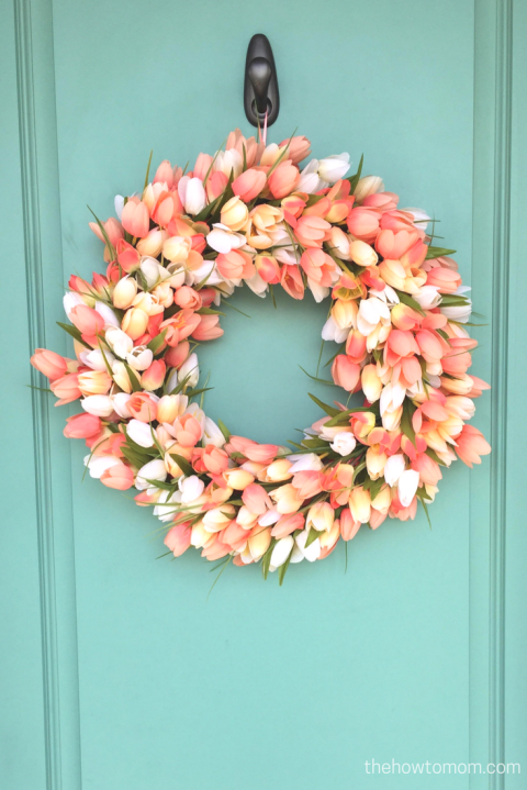 Use faux blooms instead of fresh flowers so that you can make this wreath last all season long.Get the tutorial The How-To Mom.