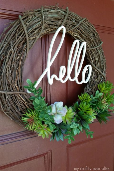 Greet your guests with an adorable front door message.Get the tutorial at My Craftily Ever After.