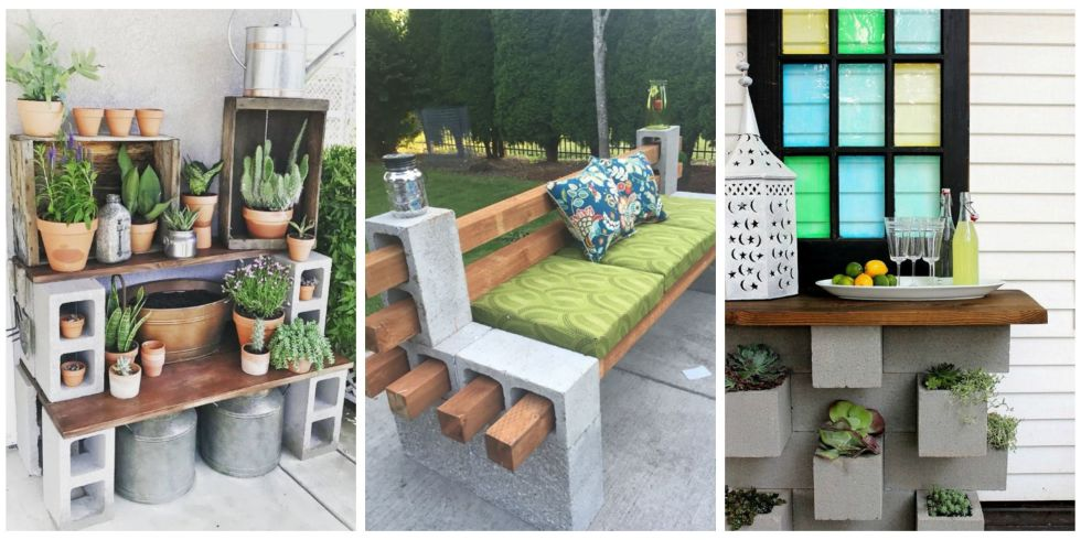Cinder block furniture is trending in a big way.