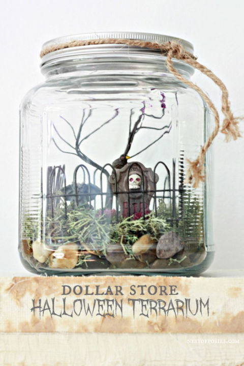 Put a spooky spin on your favorite indoor plant accessory. Plus, you can buy almost every item from the dollar store! Get the tutorial at Bombshell Bling. What you'll need:jar ($8; amazon.com), moss ($7; amazon.com), rocks ($7; amazon.com) , halloween toys ($14; amazon.com),