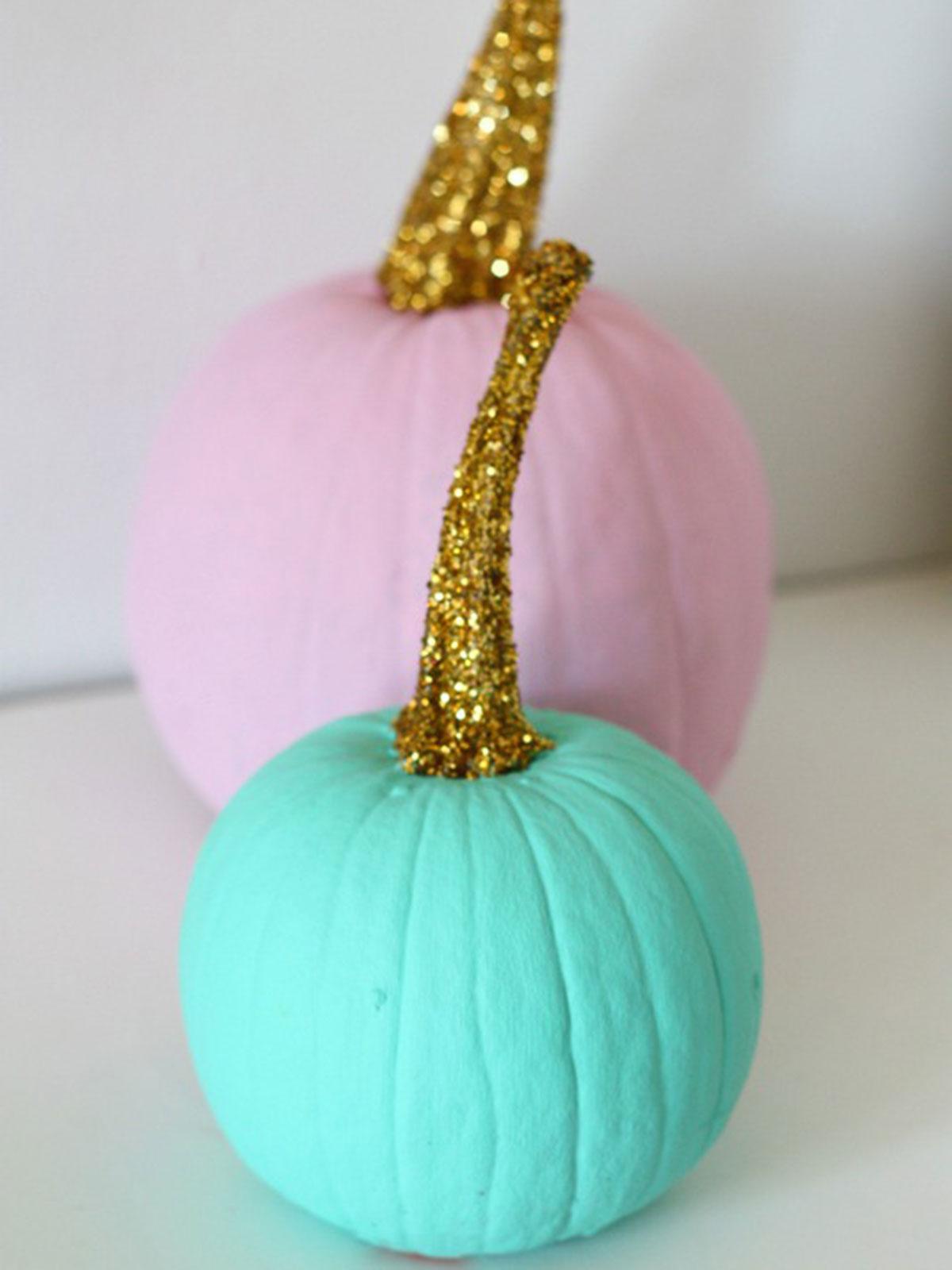 Pumpkin stems for crafts - 11 Best Glitter Pumpkins Fun Diy Ideas For Decorating Pumpkins With Glitter
