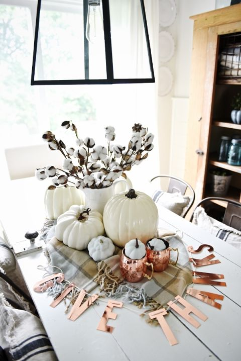 Neutral And Copper Fall Centerpiece