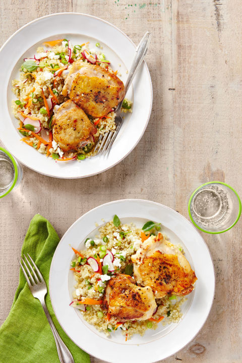 easy home cooked dinner ideas. salt-and-pepper chicken with spring quinoa pilaf easy home cooked dinner ideas