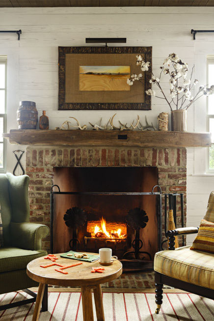 Rustic Wood and Antlers 40  Fireplace Design Ideas Mantel Decorating