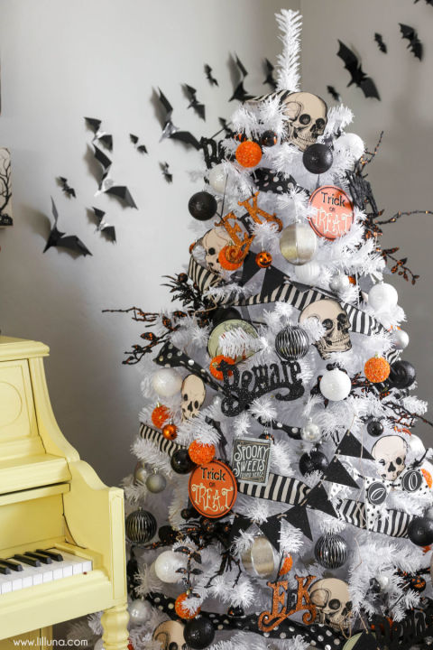 white tree - Halloween Tree Decorations