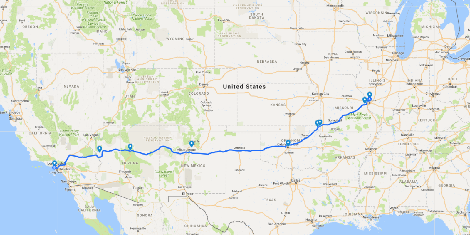 Road Trip Route Usa Wall HD - Map usa road