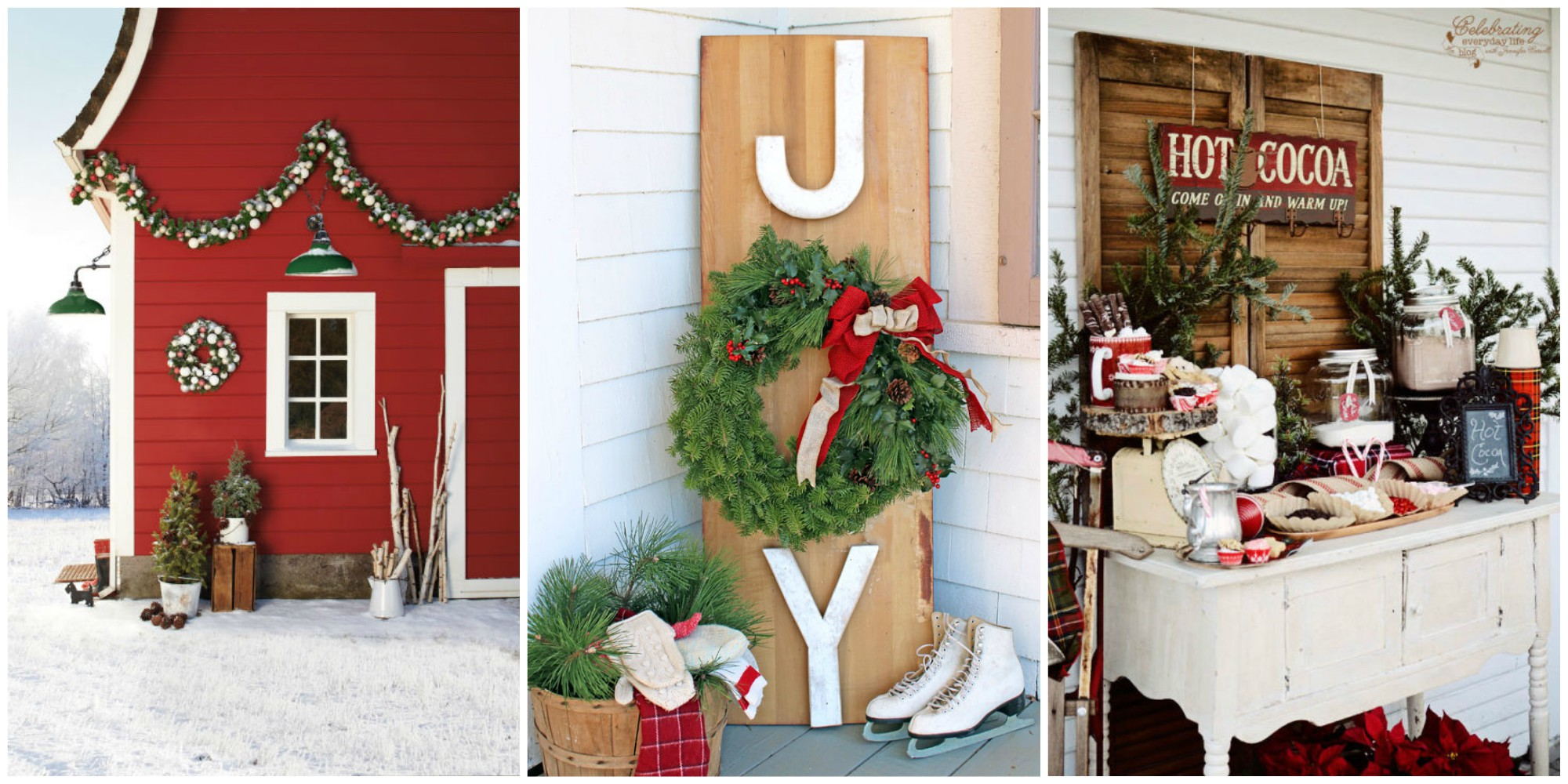 34 outdoor christmas decorations ideas for outside for Easy front porch christmas decorations