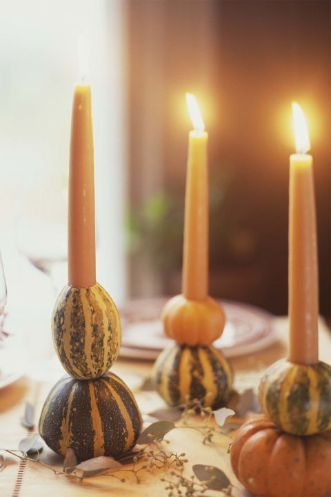 Thanksgiving decor pumpkin candle holders