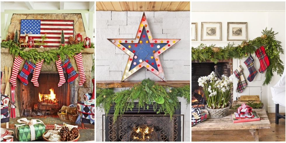 38 Christmas Mantel Decorations - Ideas for Holiday Fireplace ...