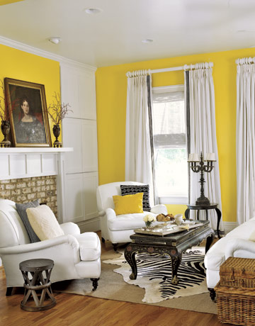 Yellow home decor decorating with the color yellow - Living room yellow wall ...