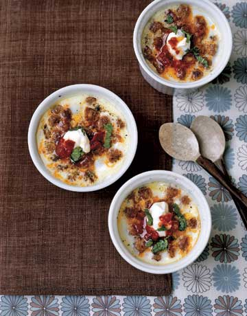 These coddled eggs boast a zesty flavor thanks to Merguez sausage. Recipe: Coddled Eggs with Tunisian Flavors