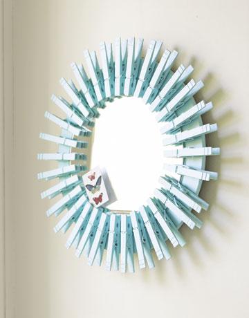 Circular Mirror Made Of Clothespins