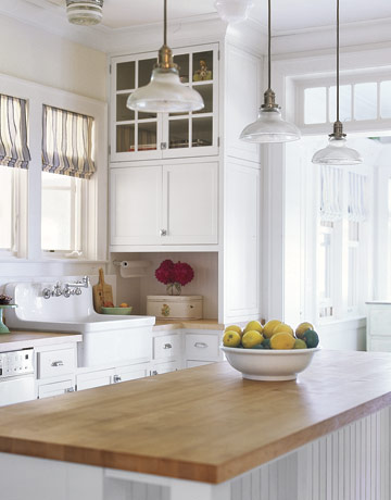 Butcher Block Counters White Kitchen : Butcher-Block Countertops