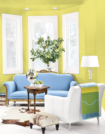 yellow green living room with antique blue couch and white armchair orange you happy - Happy Colors For Living Room