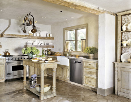 Country farmhouse decor ideas for country home for Parisian style kitchen ideas