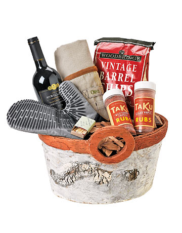 Enhance the spatula-wielding man's arsenal with grilling tools, oak smoking chips, spice rubs, and an affordable Cabernet Sauvignon from southern Australia. Wrap up your gifts in a bark-covered bin. Hot Stuff Grill safely and easily with Oxo's 17-inch-long flame-resistant Silicone Oven Mitt. $14.99; oxo.com Cheers McWilliam's Australian Cabernet Sauvignon pairs just as well with a cheeseburger as it does with filet mignon. Cover Up Wayfair's leather Outset Grill Apron is the perfect armor for a long day at the grill. $36.99; wayfair.com. Smokin' These wood chips add a smoky, mouthwatering flavor to grilled meats and poultry. $5.95; bbqguys.com. Rub It On Grill, bake or saute with Sugar Maple or Wild Cherry Chipotle rubs, two of Taku's six savory flavors. $8.99 each; takusmokeries.com