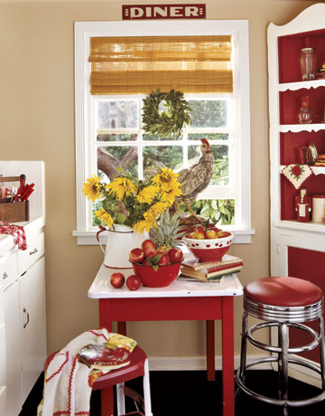 Style on a budget for Red and white country kitchen ideas
