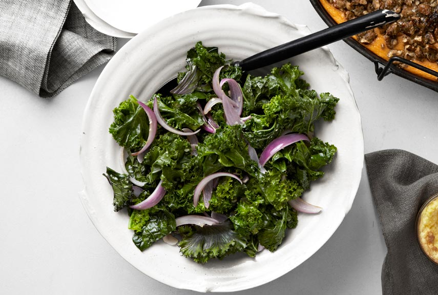 Tom Valenti's Sautéed Kale with Garlic and Red Onions Recipe