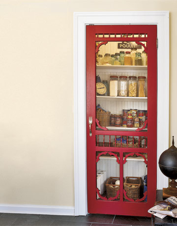 Pantry With Glass Red Trimmed Door