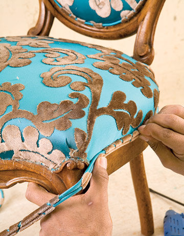dining room chair reupholstering reupholster dining chairs final step. beautiful ideas. Home Design Ideas