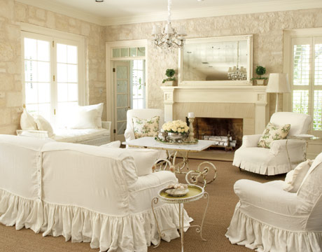 a white living room with chairs and couch covered in slipcovers - Linen Slipcover