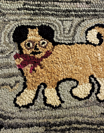 Hooked Rug With A Dog
