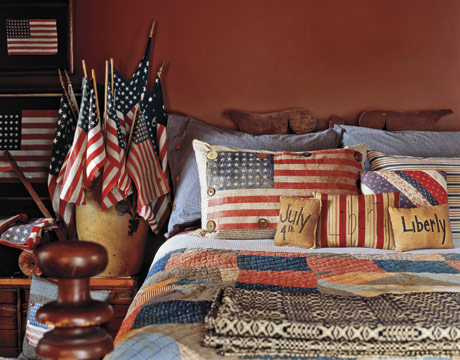 Patriotic decor 4th of july red white and blue for Americana bedroom ideas