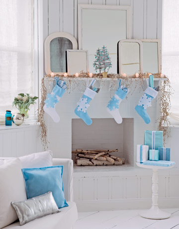 Light Blue And White Themed Room With Holiday Fireplace