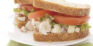 Pesto Chicken Sandwiches with Tomato-Feta Salad