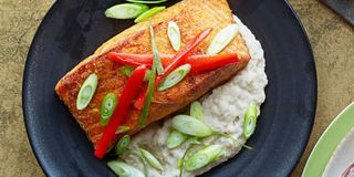 Spicy Salmon Over Creamy Eggplant