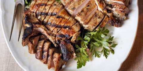 Grilled Pork Chops with Scallion-Herb Sauce