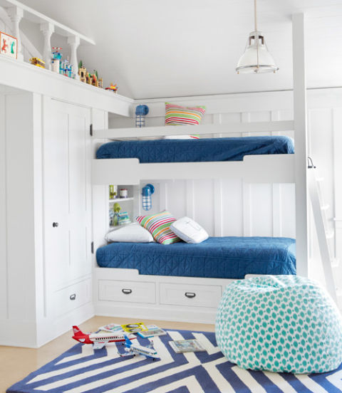 "In the boys' bedroom of this California home, navy bedspreads from Bed, Bath &amp; Beyond and a chevron rug by Serena &amp; Lily suggest ""nautical"" without going overboard. The beanbag is a PBteen score.<br />   Amazing Kids&#8217; Rooms ideas 54eb026ac808a   white kids room bunk beds classic california house 0612 xln"