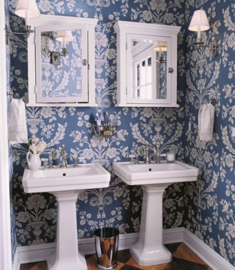 Blue rooms ideas for blue rooms and home decor for Bathroom wallpaper near me