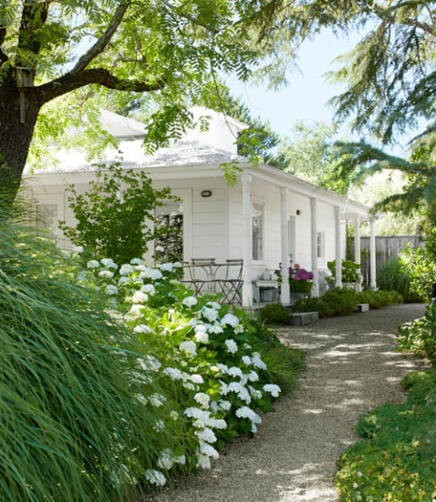 'Blushing Bride' hydrangeas and 'Morning Light' ornamental grasses soften the path to Beverley's 700-square-foot guesthouse with a wraparound porch.