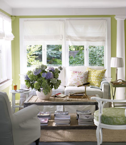 this east hampton beach house painted a happy green stylishly