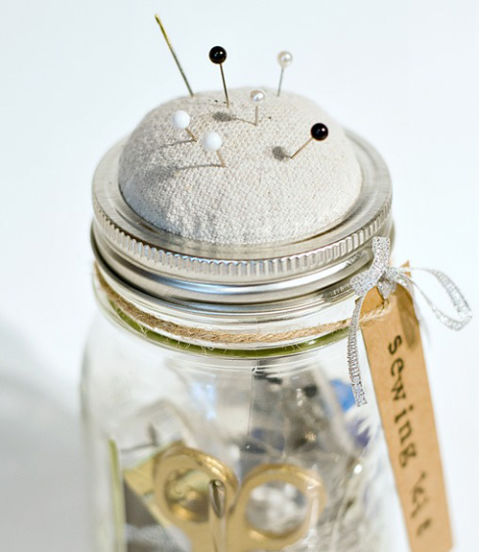 Nine creative projects for recyling mason jars idea digezt the great thing about using a mason jar as a sewing kit is that apart from organizing your sewing essentials you can use the lid as an easily accessible solutioingenieria Image collections