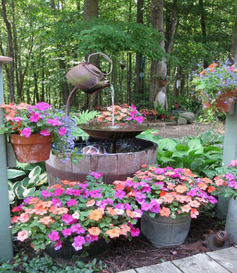 Diy Outdoor Fountains furthermore Anatomy Of Cottage Garden furthermore Photo likewise loghouselife furthermore Plantings Garden Accents. on old yard curb appeal design home