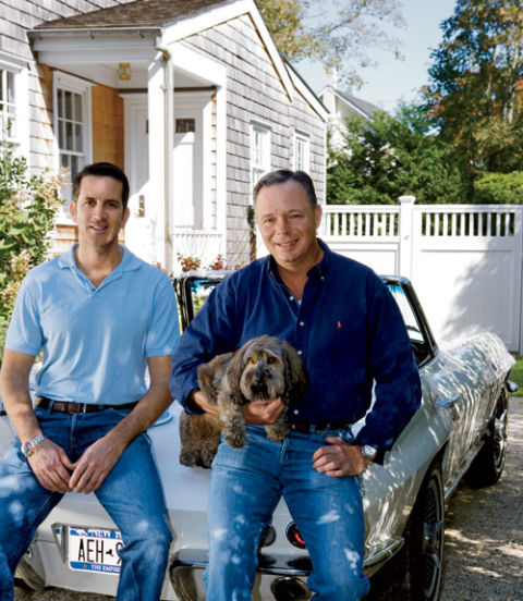 Richard holds his wire-haired dachshund, Charlie, next to Bob Tortora, his contractor. NEXT: Inside an 1830s Farmhouse in the Catskills