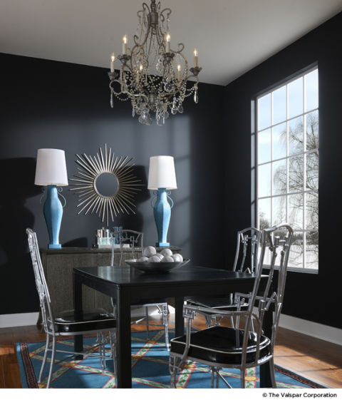 Dining Room With Dark Gray Walls And Turquoise Lamps