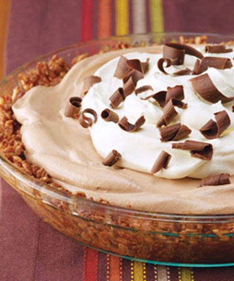 The crunch is from the secret ingredient — crisped rice cereal.  Recipe: Chocolate Crunch Mud Pie