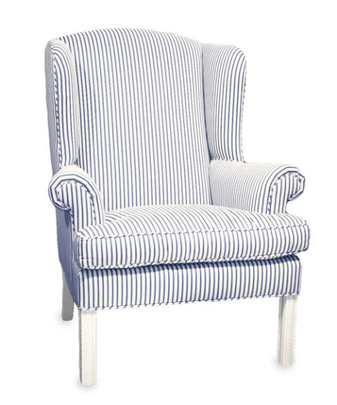 Blue And White Ticking Stripe Upholstered Wing Chair
