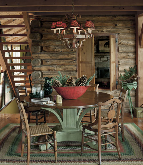 Log cabin house tour decorating ideas for log cabins for Country cabin designs