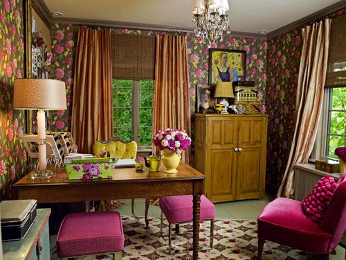 home office and guest room. home office with brown floral wallpaper and guest room
