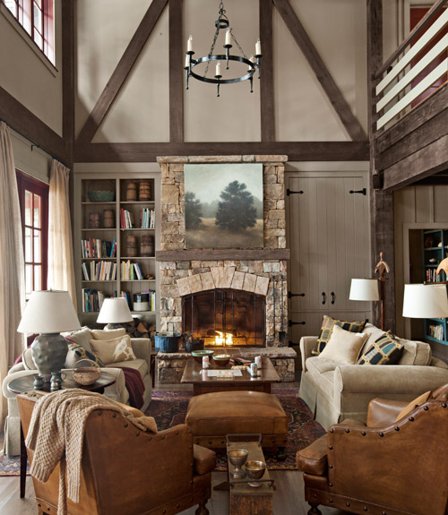 traditional living room - Lake House Design Ideas