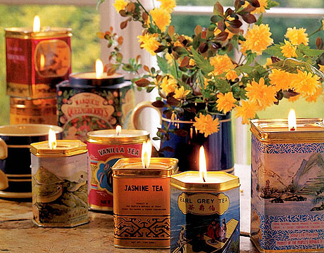 candles in tins