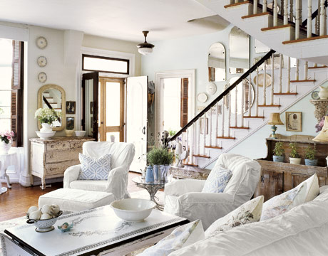 Decorating with white home decor in white for French country beach house