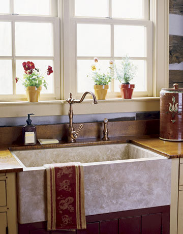 Modern Sink In Colonial Kitchen